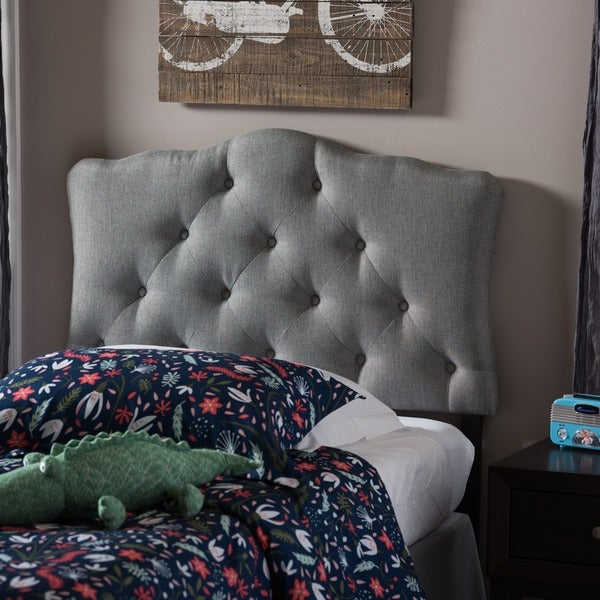Baxton Studio Wexler Grey Contemporary Scalloped Faux Leather Upholstered Button Tufted headboard
