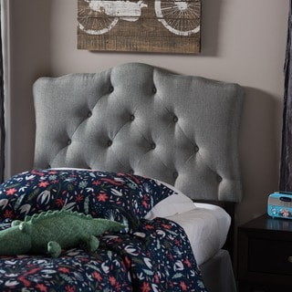 Baxton Studio Wexler Grey Contemporary Scalloped Fabric Upholstered Button Tufted Headboard
