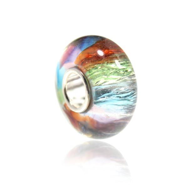 Murano Inspired Iridescent Foil Watercolor Bead for European Style Charm Bracelets