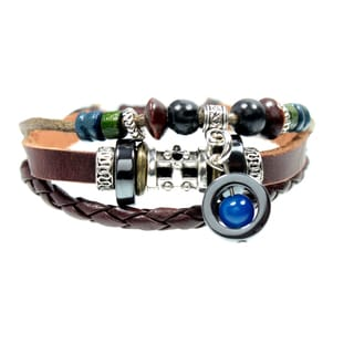 Blue Bead Multi Strand Leather Zen Bracelet with Fully Adjustable Drawstring