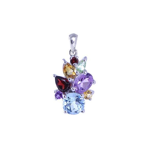Silver Silver Blue Topaz Multi Gemstone Pendant