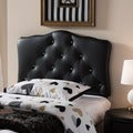 Baxton Studio Wexler Black Contemporary Scalloped Faux Leather Upholstered Button Tufted headboard