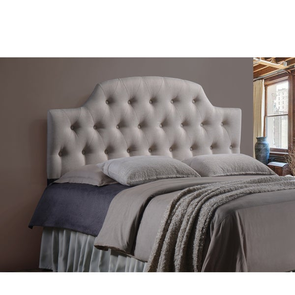 Baxton Studio Weaver Light Beige Contemporary Scallop-Cornered Faux Leather Upholstered Button Tufted headboard