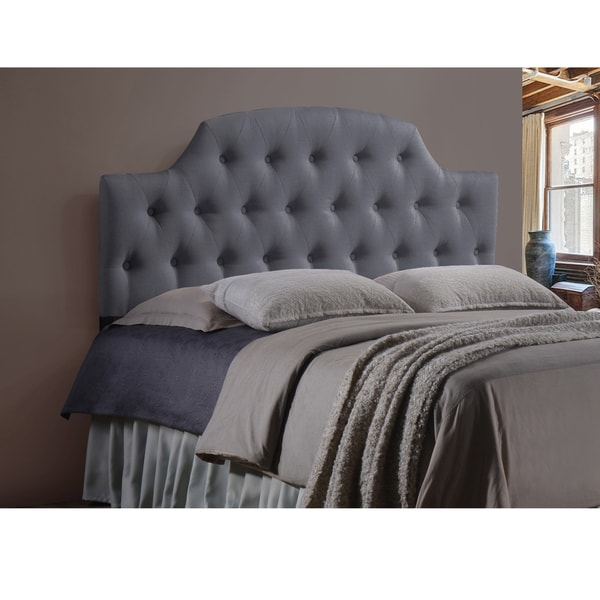 Baxton Studio Weaver Grey Contemporary Scallop-Cornered Grey Faux Leather Upholstered Button Tufted headboard