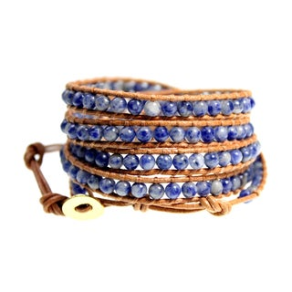 Montana Sky Natural Tan Leather 5x Wrap Bracelet with Blue and White Sodalite Beads