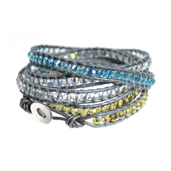 Aqua Blue and Yellow Bead on Silver Leather 5x Wrap Bracelet