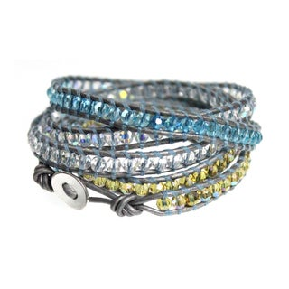 Silver Leather 5x Wrap Bracelet with Aqua Blue and Saffron Yellow Faceted Beads