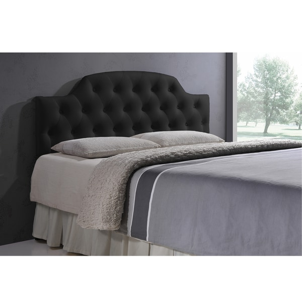 Baxton Studio Weaver Black Contemporary Scallop-Cornered Black Faux Leather Upholstered Button Tufted headboard