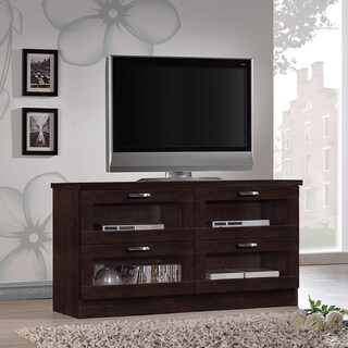 Baxton Studio Tibbs Contemporary 47.25 Inches Dark Brown Wood TV Cabinet with 4 Glass Doors