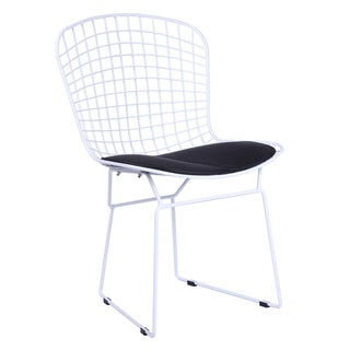 MaxMod White Wire Side Chair in Black