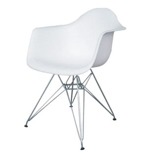 MaxMod WireLeg Dining Arm Chair in White