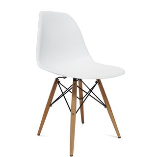MaxMod WoodLeg Dining Side Chair in White