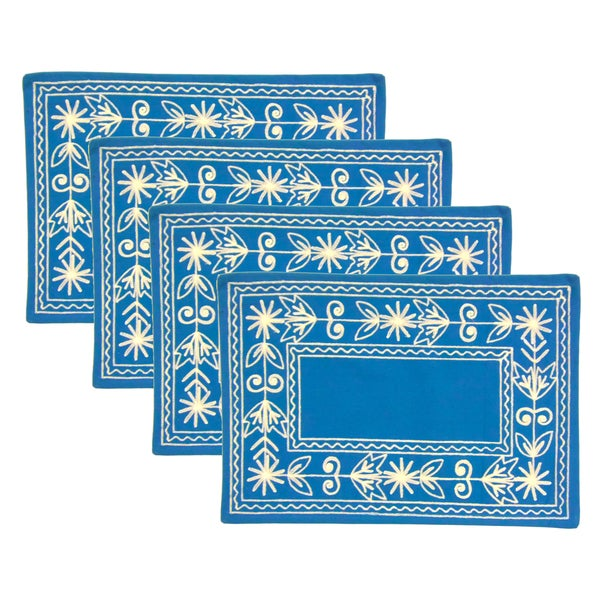 Celebration Crewel Embroidered Place Mats (Set of 4)
