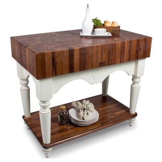 John Boos Calais 42 x 24 American Black Walnut Alabaster Base Work Table with 13-piece Henckels Knife Set