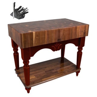 John Boos Calais 42 x 24 American Black Walnut/ Cherry Base Work Table with 13-piece Henckels Knife Set