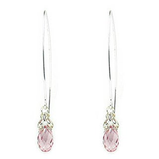 Queenberry Sterling Silver Austrian Crystal Element Crystal Briolette Clear Pink Rose Butterfly Dangle Ear