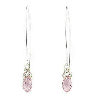 Queenberry Sterling Silver Swarovski Element Crystal Briolette Clear Pink Rose Butterfly Dangle Earrings