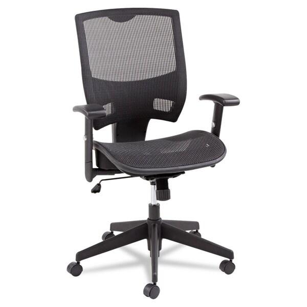 Alera Epoch Series All Mesh Multifunction Black Mid-Back Chair