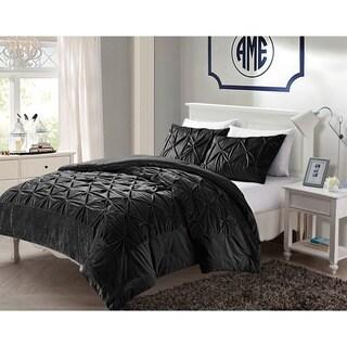 VCNY Hamilton Plush Pintuck Fleece Down Alt 3-piece Comforter Set