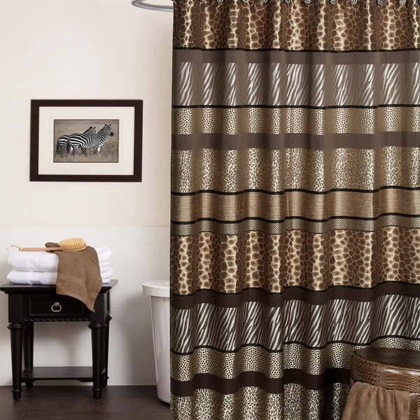 Exotic Animal Print Shower Curtain and Hooks Set or Separates 15700802