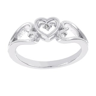 H Star Sterling Silver Diamond Accent Heart Promise Ring (I-J, I2-I3)