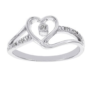 H Star Sterling Silver Diamond Accent Heart Promise Ring (H-I, I1-I2)