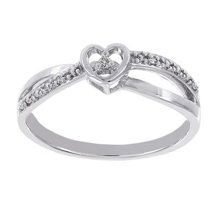 H Star Sterling Silver Diamond Accent Heart-shaped Promise Ring (H-I, I1-I2)