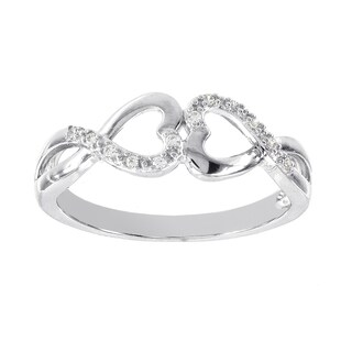 H Star Sterling Silver Diamond Accent Double Heart Ring (H-I, I1-I2)