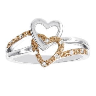 H Star Rose-plated Sterling Silver Diamond Accent Double Heart Promise Ring (H-I, I1-I2)