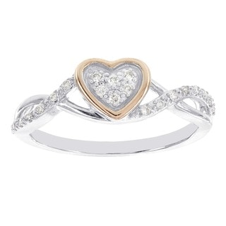 H Star Rose-plated Sterling Silver 1/10ct Diamond Heart Promise Ring (H-I, I1-I2)