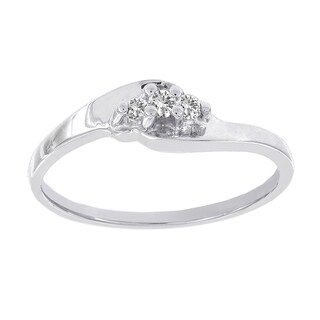 H Star 10k White Gold Diamond Accent 3-stone Promise Ring (I-J, I2-I3)