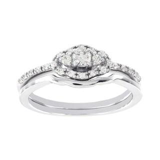 H Star 14k White Gold 1/4ct Diamond Wedding Ring Set (I-J, I2-I3)