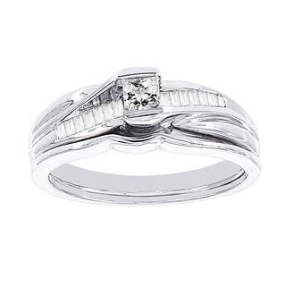 H Star 10k White Gold 3/8ct Diamond Wedding Ring Set (I-J, I2-I3)