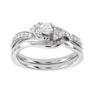 H Star 14k White Gold 1/3ct Diamond Wedding Ring Set (I-J, I2-I3)