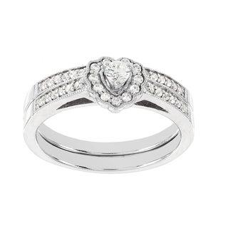 H Star 14k White Gold 1/3ct Diamond Wedding Heart Ring Set (I-J, I2-I3)