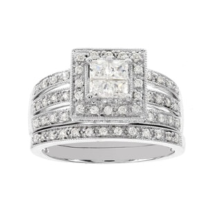 H Star 14k White Gold 3/4ct Diamond Wedding Ring Set (I-J, I2-I3)