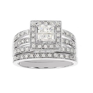 H Star 14k White Gold 3/4ct Diamond Wedding Ring Set (I-J, I2-I3)