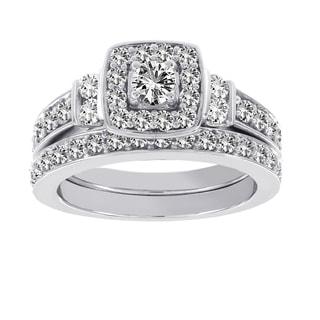 H Star 10k White Gold 1ct Diamond Wedding Ring Set (I-J, I2-I3)
