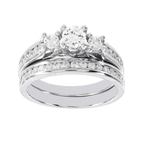 H Star 14k White Gold 1ct Diamond 3-stone Wedding Ring Set (H-I, I1-I2)