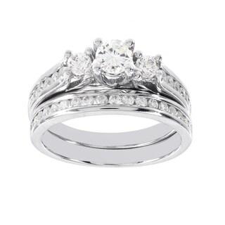 H Star 14k White Gold 1ct Diamond 3-stone Wedding Ring Set (H-I, I1-I2)