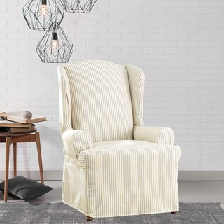 Sure Fit Ticking Stripe Wing Chair Slipcover