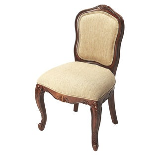 Hard-carved Birch Wood Cherry Finish Traditional Accent Chair