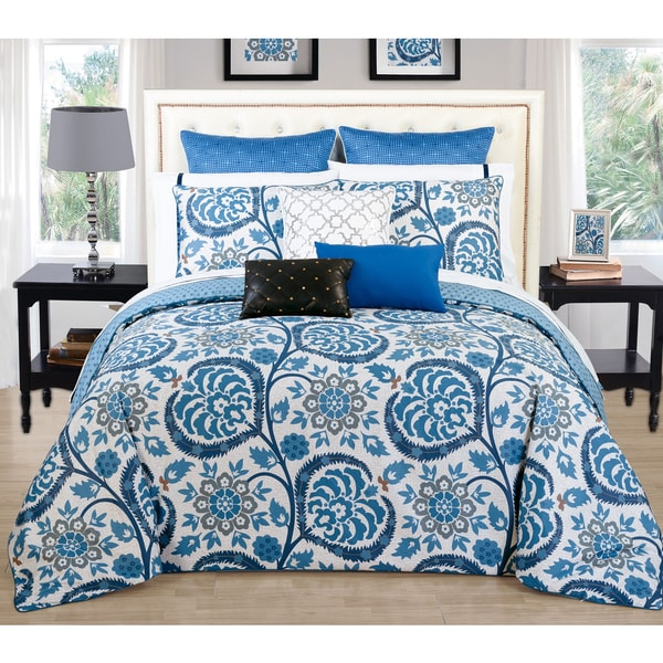Couture Home Collection Lilliana Reversible Blue Floral 3-piece Duvet Cover Set