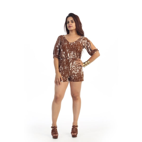Woman's Plus Size Brown Printed Short Romper