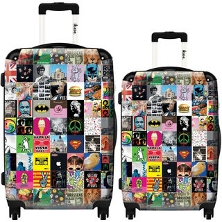 iKase Collage 2-piece Hardside Spinner Luggage Set