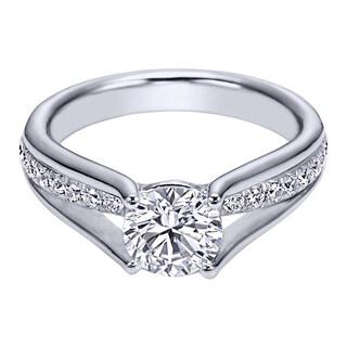 18k White Gold Cubic Zirconia and 3/8ct TDW Round Diamond Semi-mount Engagement Ring (H-I, I1-I2)