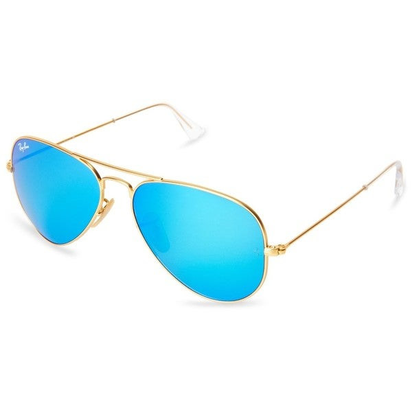 Ray-Ban Aviator Gold Metal Frame Blue Mirror Polarized Crystal Lens Sunglasses