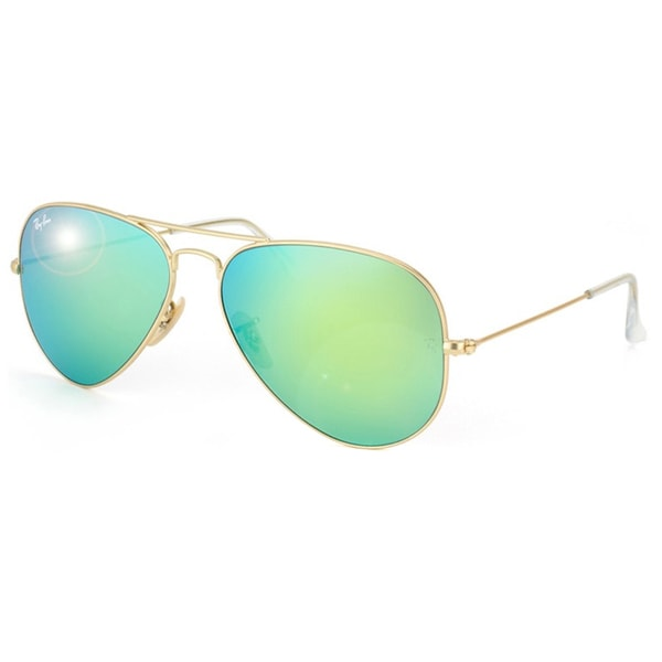 Ray-Ban RB3025 Large Metal Aviator Sunglasses 58mm Green Flash Lenses