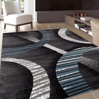 Modern Contemporary Soft Blue/ Grey Area Rug (7'10 x 10'2)