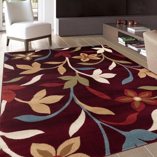 Modern Contemporary Leaves Design Burgundy Area Rug (7'10 x 10'2)